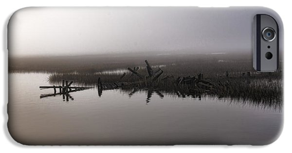 Tidal Creek iPhone Cases - Foggy Morning - Old Wimbee Dock iPhone Case by Scott Hansen