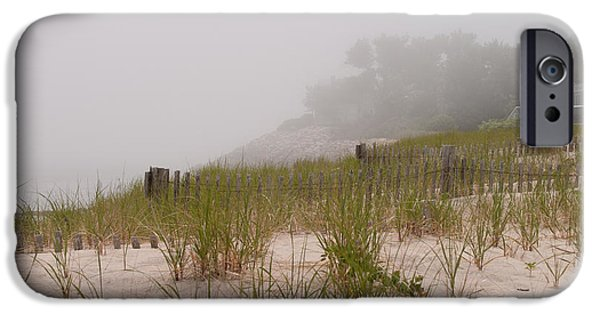 Chatham Digital Art iPhone Cases - foggy morning on Chatham beach iPhone Case by Jeff Folger