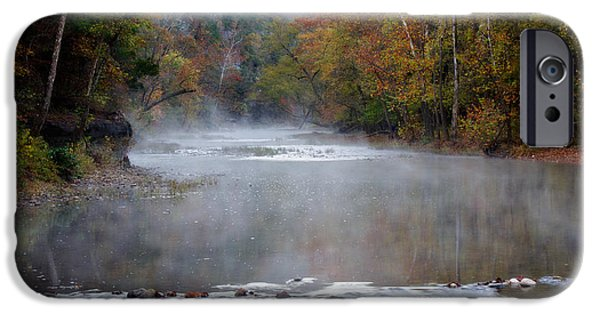 Arkansas iPhone Cases - Foggy Morning on The Buffalo iPhone Case by Lana Trussell