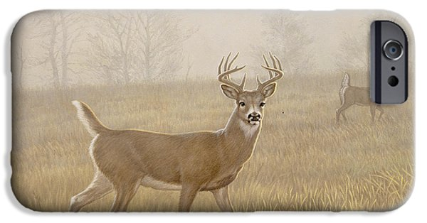 Whitetail Deer iPhone Cases - Foggy Morning-Whitetail iPhone Case by Paul Krapf