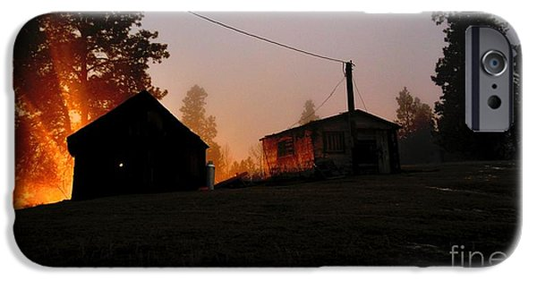 Old Barns iPhone Cases - Foggy Night At The Ranch II iPhone Case by Phil Dionne