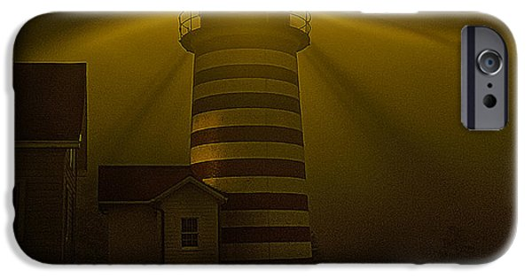 West Quoddy Head Lighthouse iPhone Cases - Foggy Night at West Quoddy Head Light-2 iPhone Case by Marty Saccone