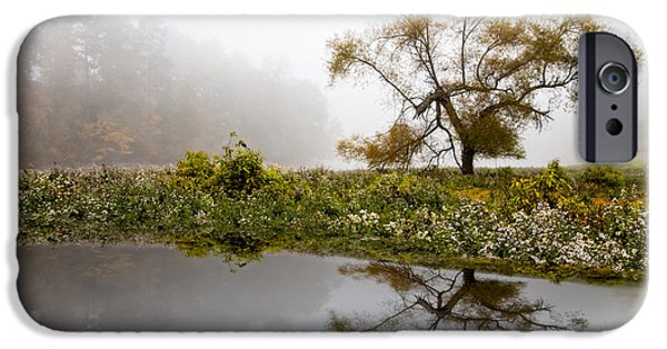 Willow Lake iPhone Cases - Foggy Reflections Landscape iPhone Case by Debra and Dave Vanderlaan