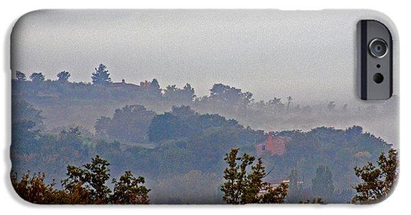Fog Mist iPhone Cases - Foggy Skyline, Tuscany, Italy iPhone Case by Tim Holt