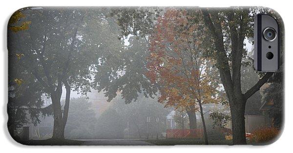 Asphalt Photographs iPhone Cases - Foggy street iPhone Case by Elena Elisseeva