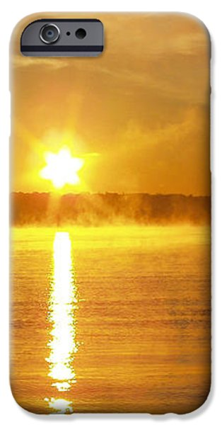 Foggy Sunrise Over Manhassett Bay iPhone Case by JOHN TELFER
