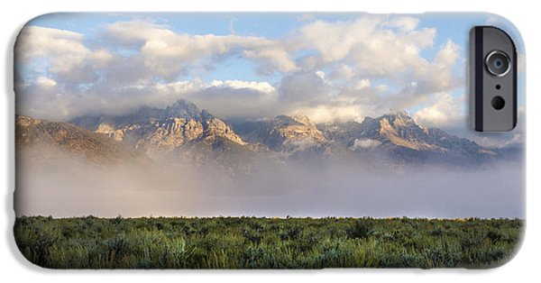 Mountain iPhone Cases - Foggy Teton Sunrise - Grand Tetons National Park Wyoming iPhone Case by Brian Harig