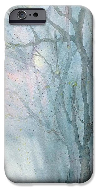 Fall Scenes Drawings iPhone Cases - Foggy Trees iPhone Case by Rebecca Davis