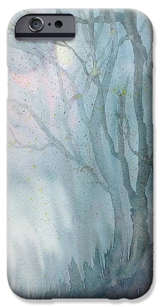 Autumn Scenes Drawings iPhone Cases - Foggy Trees iPhone Case by Rebecca Davis