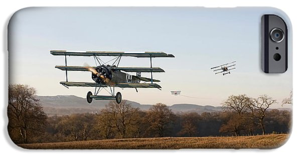 Triplane iPhone Cases - Fokker DR1 - Days End iPhone Case by Pat Speirs
