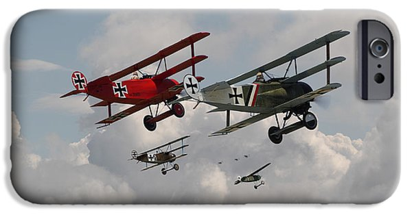 Biplane iPhone Cases - Fokker Squadron - Contact iPhone Case by Pat Speirs