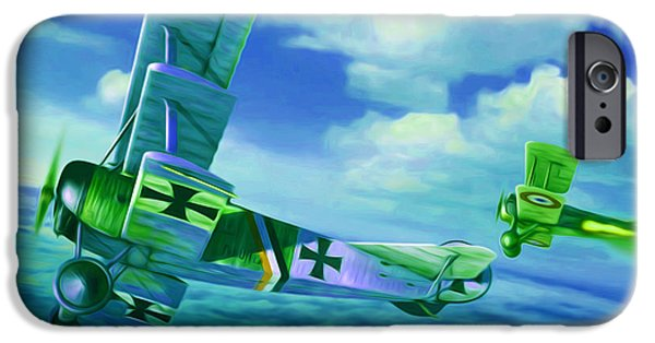 Sopwith Triplane iPhone Cases - Fokker Triplane first world war aeroplane  iPhone Case by Lanjee Chee