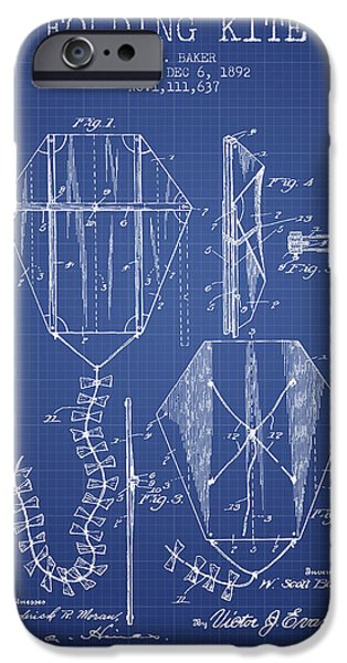 Kite iPhone Cases - Folding Kite Patent from 1892- Blueprint iPhone Case by Aged Pixel