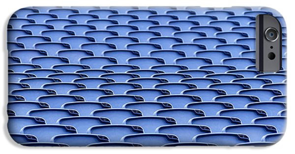 Open Air Theater iPhone Cases - Folding plastic blue seats iPhone Case by Dutourdumonde Photography