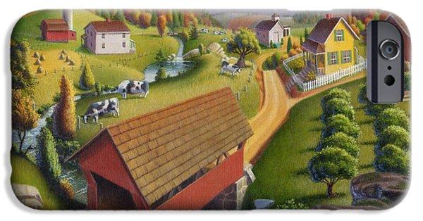 Covered Bridge Paintings iPhone Cases - Folk Art Covered Bridge Appalachian Country Farm Summer Landscape - Appalachia - Rural Americana iPhone Case by Walt Curlee
