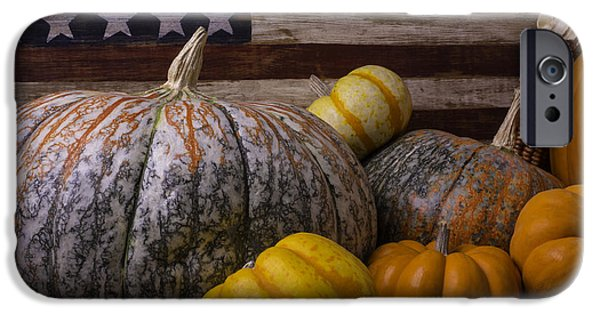 Gourd iPhone Cases - Folk Art Flag And Pumpkins iPhone Case by Garry Gay