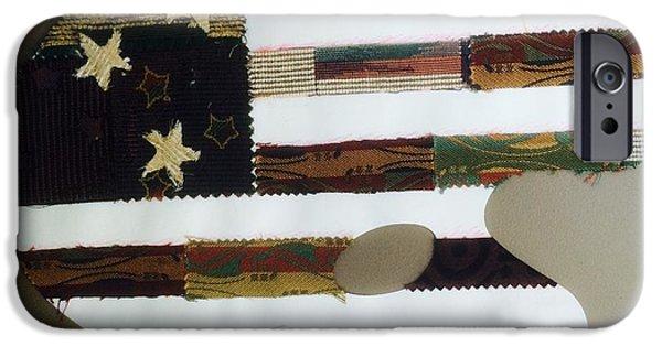 Flag iPhone Cases - Folk Art Flag iPhone Case by Renee Marie