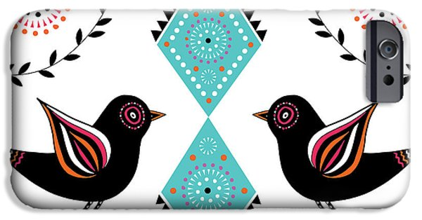 Geometric Animal iPhone Cases - Folk Bird iPhone Case by Susan Claire
