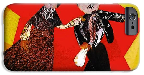 Folk Art Mixed Media iPhone Cases - Folk Dancers iPhone Case by Sarah Loft