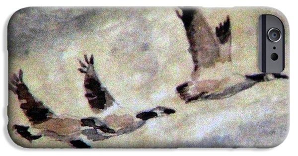 Canadian Geese Paintings iPhone Cases - Follow Me iPhone Case by Angela Davies