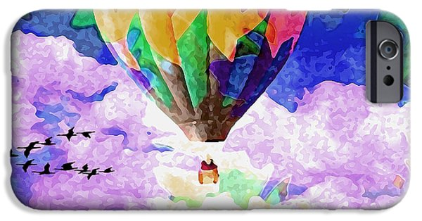 Hot Air Balloon Mixed Media iPhone Cases - Follow The Leader iPhone Case by Catherine Harms
