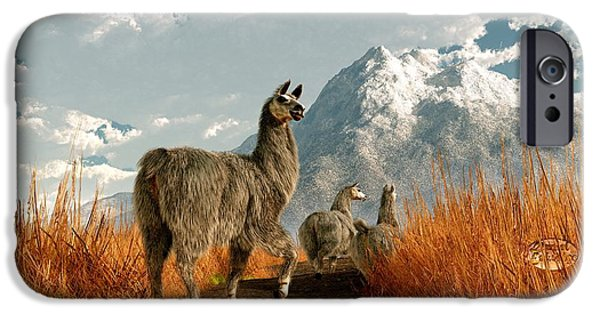 Llama Digital iPhone Cases - Follow the Llama iPhone Case by Daniel Eskridge