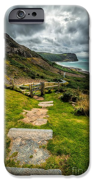 Walkway Digital Art iPhone Cases - Follow The Path iPhone Case by Adrian Evans