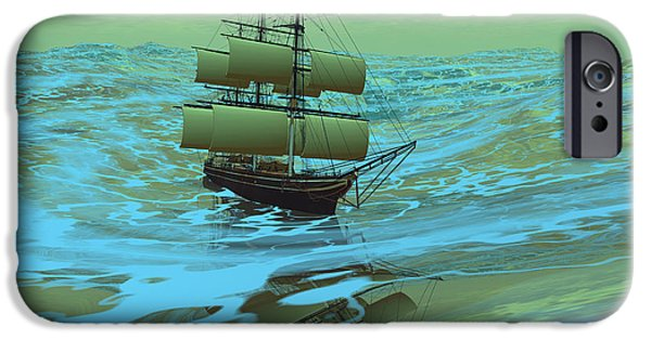 Tall Ship Digital iPhone Cases - Following Sea iPhone Case by Corey Ford