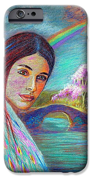 Native American Spirit Portrait iPhone Cases - Following the Rainbow iPhone Case by Jane Small