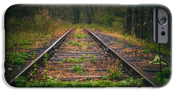 Following iPhone Cases - Following The Tracks iPhone Case by Karol  Livote