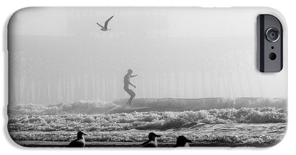 Folly iPhone Cases - Folly Beach Pier Foggy Day Surf iPhone Case by Dustin K Ryan