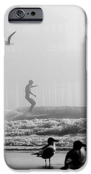 Folly Beach Pier Foggy Day Surf iPhone Case by Dustin K Ryan