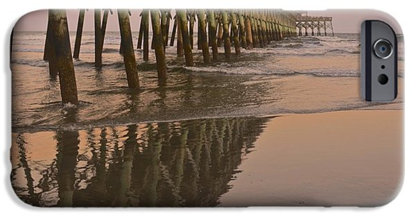 Rainy Day iPhone Cases - Folly Beach Pier iPhone Case by Rebecca Turisk