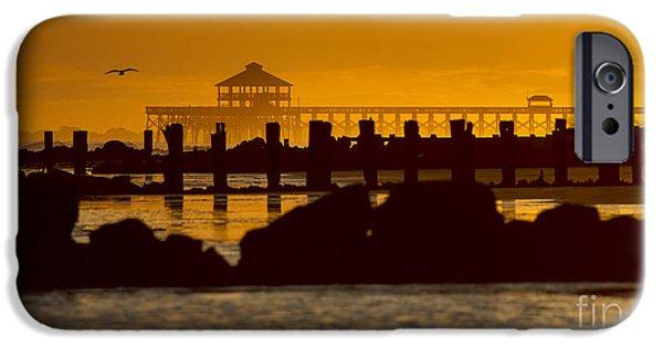 Ocean Sunset iPhone Cases - Folly Beach Pier Sunset iPhone Case by Dustin K Ryan