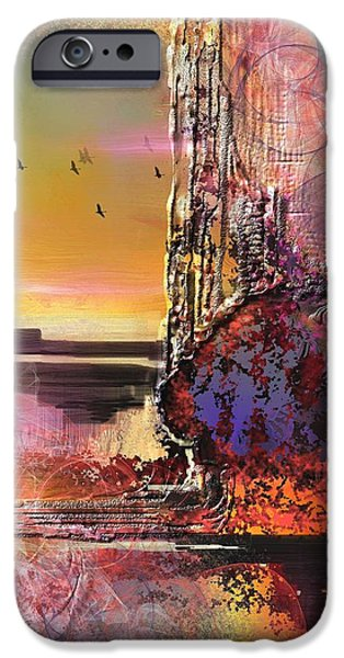 Abstract Landscape Digital Art iPhone Cases - Fondry  iPhone Case by Francoise Dugourd-Caput