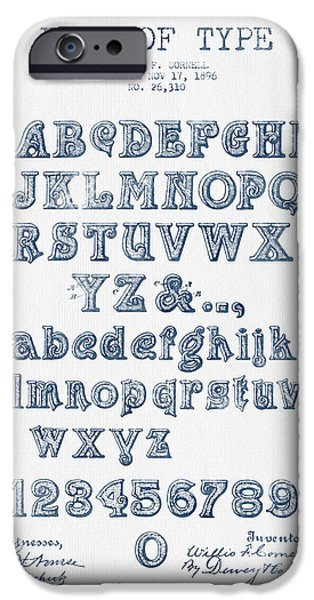 Alphabet iPhone Cases - Font of  Type Patent Drawing from 1896 -  Blue Ink iPhone Case by Aged Pixel