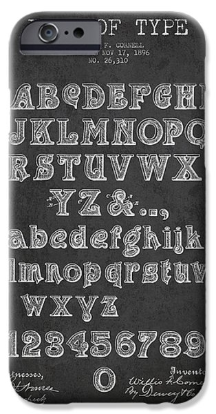 Font iPhone Cases - Font of  Type Patent Drawing from 1896 - Dark iPhone Case by Aged Pixel