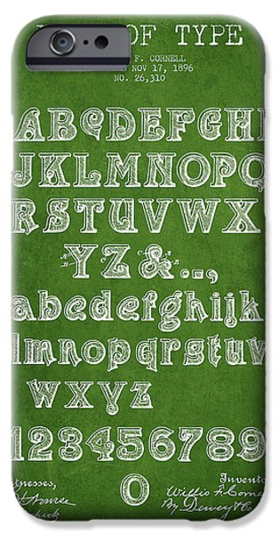 Font iPhone Cases - Font of  Type Patent Drawing from 1896 - Green iPhone Case by Aged Pixel