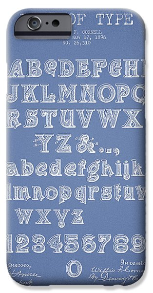 Font iPhone Cases - Font of  Type Patent Drawing from 1896 - Light Blue iPhone Case by Aged Pixel