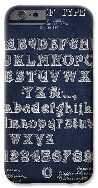 Font iPhone Cases - Font of  Type Patent Drawing from 1896 - Navy Blue iPhone Case by Aged Pixel