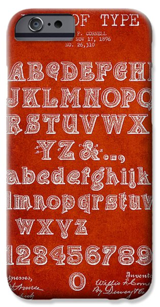 Font iPhone Cases - Font of  Type Patent Drawing from 1896 - Red iPhone Case by Aged Pixel