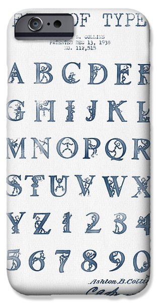 Alphabet iPhone Cases - Font Patent Drawing from 1938 -  Blue Ink iPhone Case by Aged Pixel