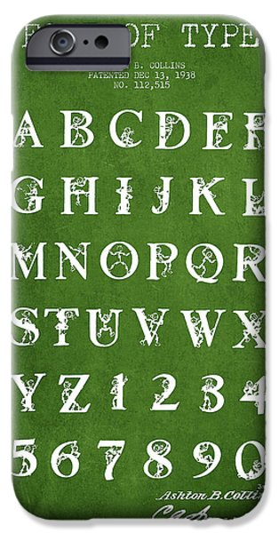 Font iPhone Cases - Font Patent Drawing from 1938 - Green iPhone Case by Aged Pixel