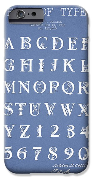 Font iPhone Cases - Font Patent Drawing from 1938 - Light Blue iPhone Case by Aged Pixel