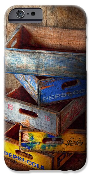Wooden Crate iPhone Cases - Food - Beverage - Pepsi-Cola boxes  iPhone Case by Mike Savad