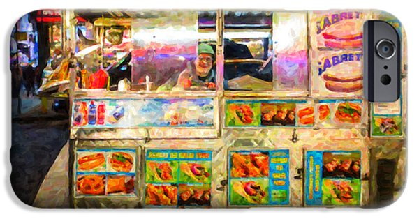 Hot Dogs iPhone Cases - Food Cart in New York City iPhone Case by Diane Diederich