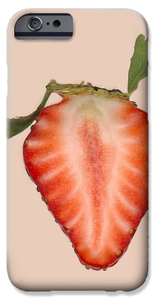 Scanography iPhone Cases - Food - Fruit - Slice of Strawberry iPhone Case by Mike Savad
