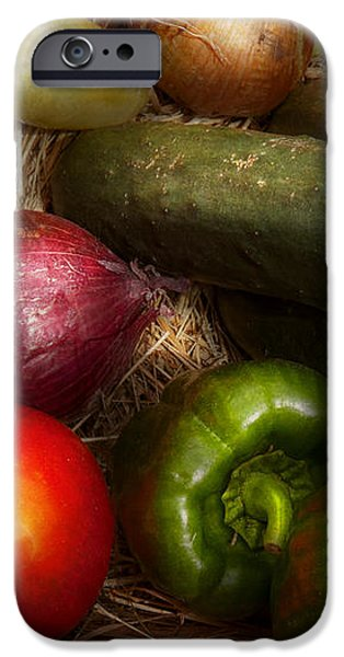 Food - Vegetables - Onions Tomatoes Peppers and Cucumbers iPhone Case by Mike Savad