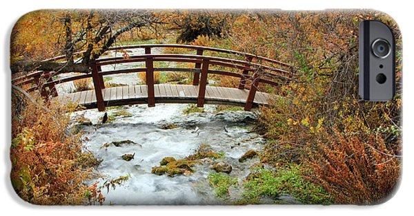 Oak Creek iPhone Cases - Foot bridge at Cascade Springs. iPhone Case by Johnny Adolphson