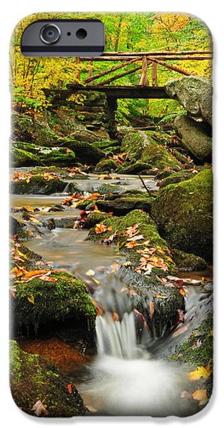 Fall Photos iPhone Cases - Foot Bridge- Macedonia Brook State Park iPhone Case by Thomas Schoeller